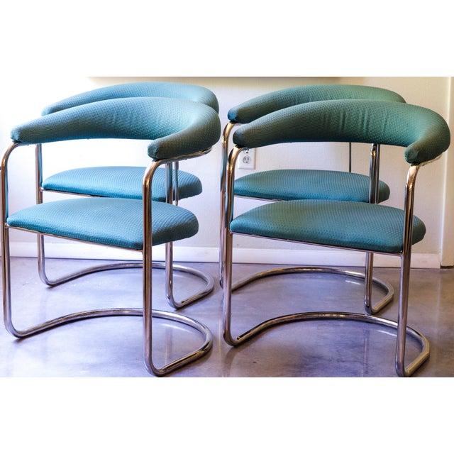 Image of Thonet Tubular Chrome Teal Dining Chairs- Set of 4