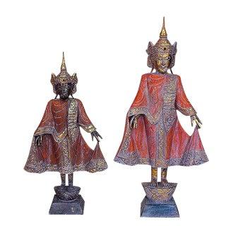 Antique Saffron Thai Style Buddha - A Pair