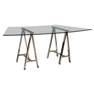 Contemporary Glass Table on Chrome Saw Horse Bases