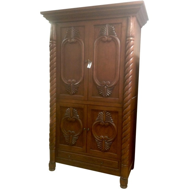 Carved solid wood armoire chairish
