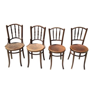 Vintage Wooden Cafe Chairs - Set of 4