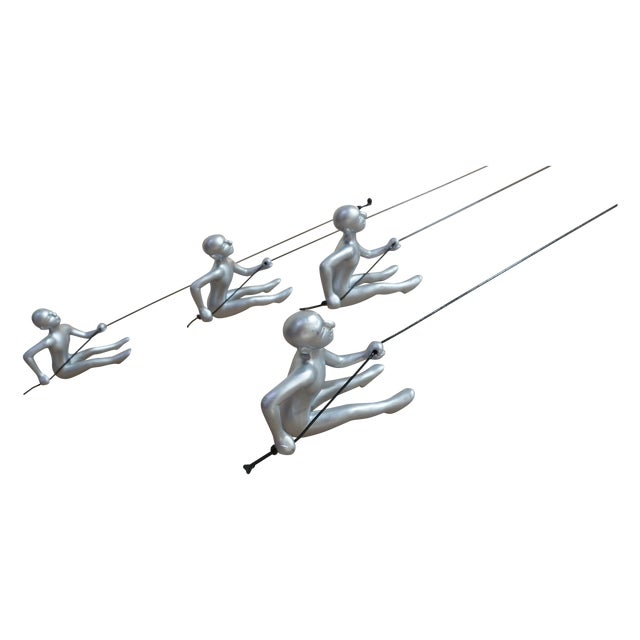 Climbing Man Silver Wall Art - 4 Pieces - Image 1 of 5