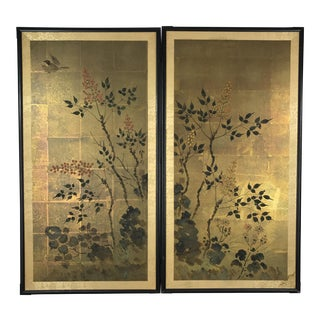 Gold Japanese Kakejiku Byobu Panels - A Pair