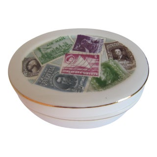 Porcelain Lidded Box with Postage Stamps
