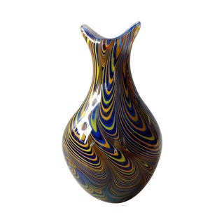 "Signed Studio Art Glass ""Feather Pull"" Vase"