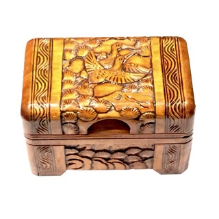 Wooden Crane Treasure Box