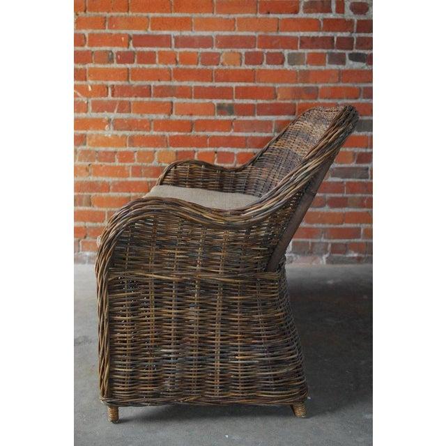 Organic Modern Woven Rattan and Wicker Settee - Image 6 of 9