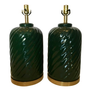 Vintage Ceramic & Brass Table Lamps - a Pair