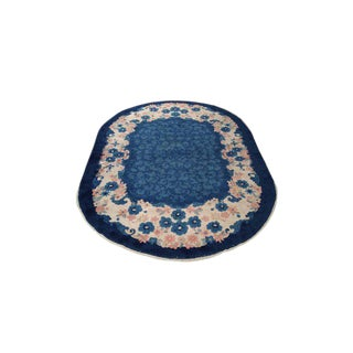 6′2″ × 8′10″ Antique Chinese Art Deco Handmade Knotted Oval Rug - Size Cat 6x9