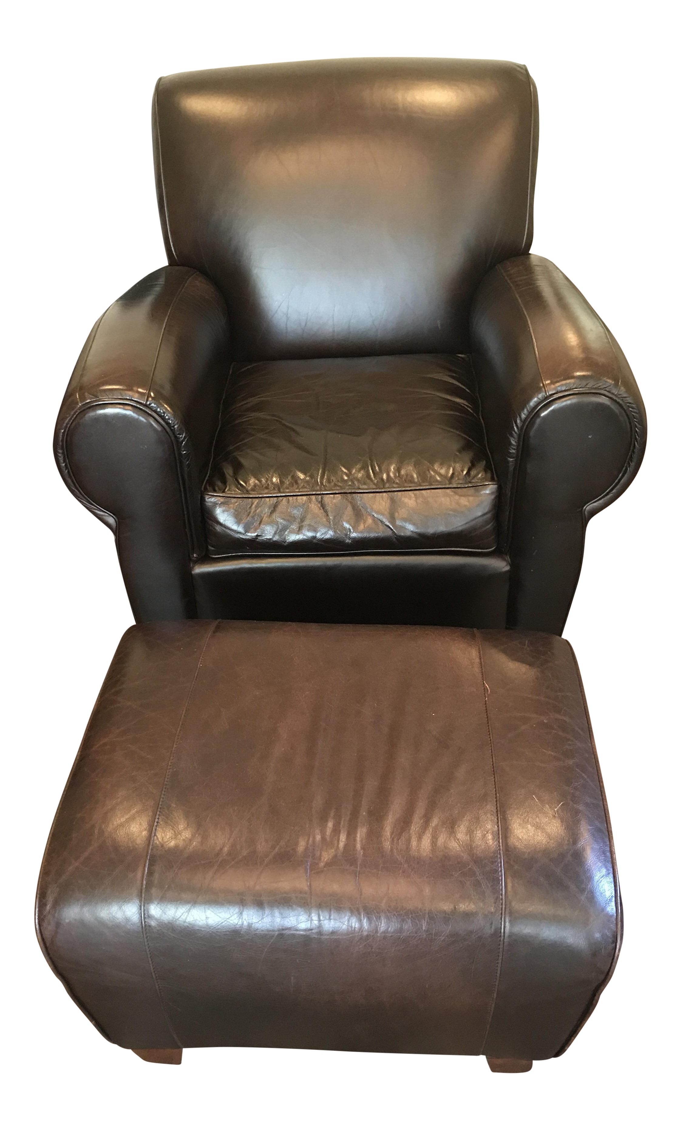 Pottery Barn Leather Chair And Ottoman