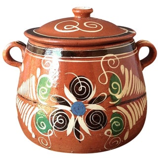 Mexican Folk Art Lidded  Bean Pot