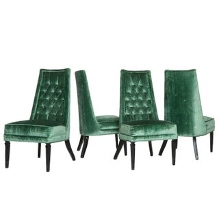Teal Green Velvet Mid-Century Side Chairs - S/4