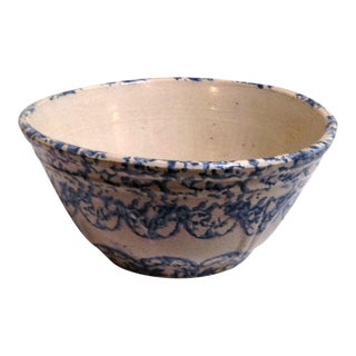 Large 19th Century Design Spongeware Mixing Bowl