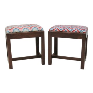 Chippendale Style Upholstered Footstools - a Pair