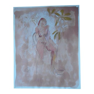 Vintage Nude Watercolor Painting, Signed