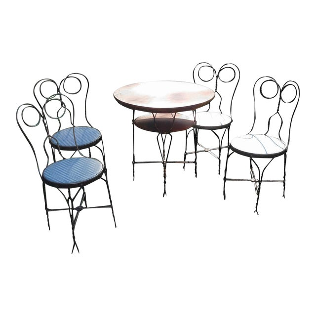 Vintage Ice Cream Parlor Table Set- 5 Pieces - Image 1 of 11