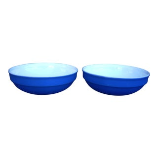 Emile Henry Blue Vegetable Bowls - A Pair