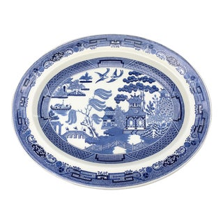 Wedgewood Blue Willow Transferware Oval Platter