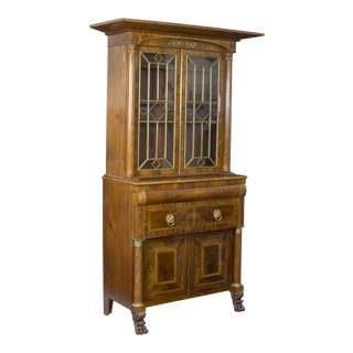 Monumental Mahogany Bookcase with Drawers