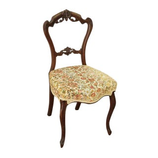 Floral Cushion Carved Wood Chair