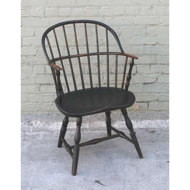 18th Century Original Green Extended-Arm Windsor Chair - Image 2 of 10