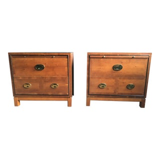 Hickory Manufacturing Co. Campaign Style Nightstands - Pair