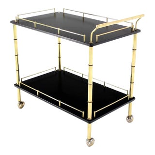 Faux Bamboo Brass Gallery Two Tier Rectangular Rolling Bar Tea Cart