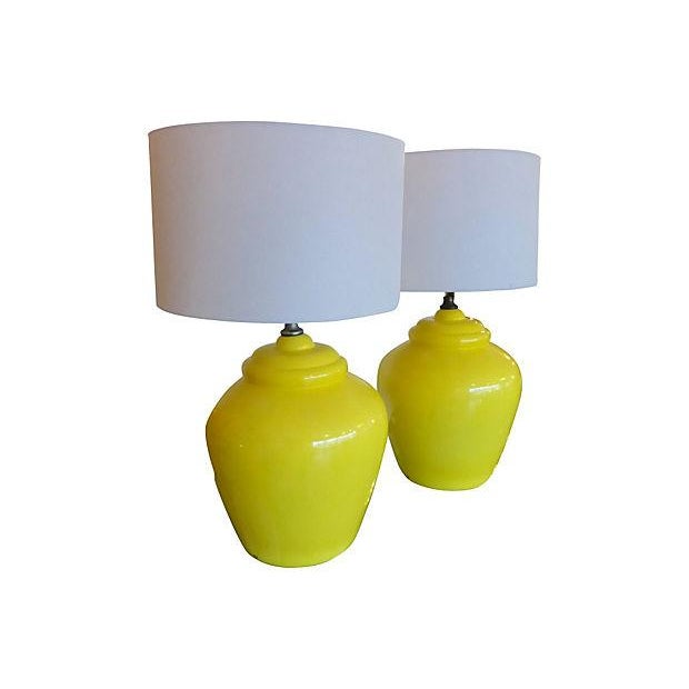 Daffodil Mid-century Ceramic Lamps- A Pair - Image 2 of 5