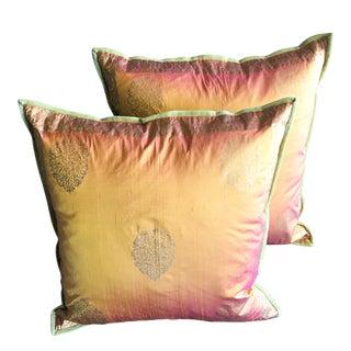 Copper & Gold Lamé Silk Pillow Covers - A Pair