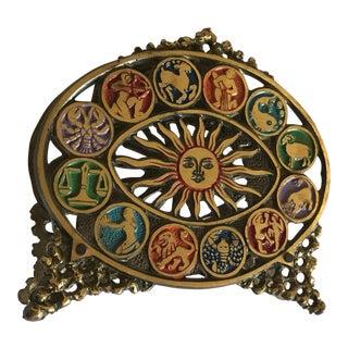 Vintage Bohemian Brass Astrological Letter Holder