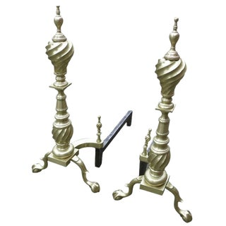 Late Victorian Chippendale Style Spiral Brass Andirons - A Pair