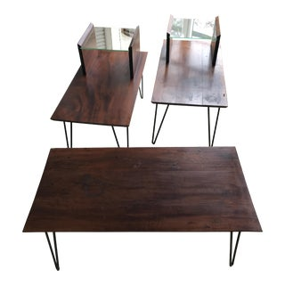 Mid-Century Modern Hairpin Walnut Coffee & End Tables - Set of 3