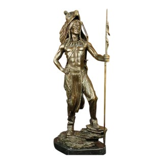 American Indian Wolf Bronze Art Deco Sculpture