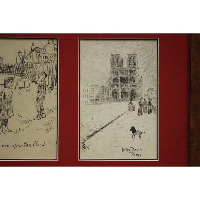 Set of 4 Framed Postcard Pen & Ink Drawings - Image 4 of 6