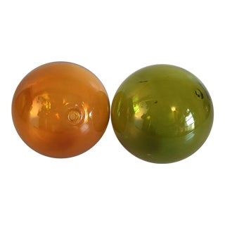 Olive & Amber Fishing Floats - A Pair
