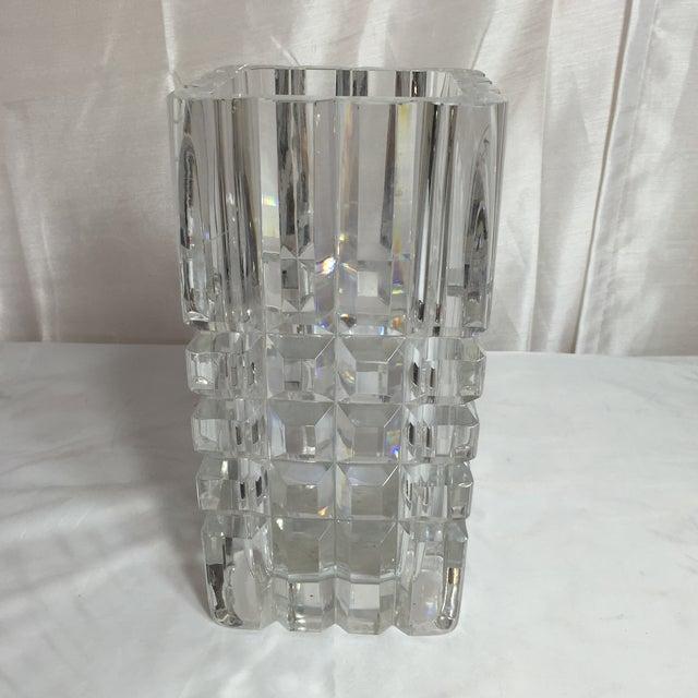 Image of Orrefors Vintage Crystal Cubic Vase