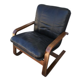 Mid-Century Black Leather Bentwood Armchair