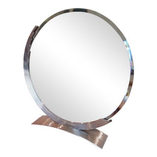 Chrome Art Deco Style Table Mirror