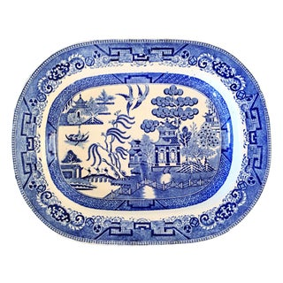 English Blue Willow Chinoiserie Serving Platter