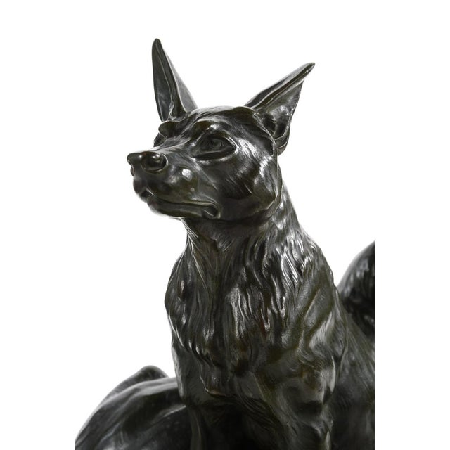 Carvin German Shepherds Dogs Bronze Sculpture - Image 3 of 9