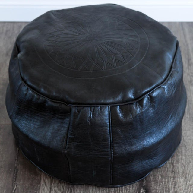 Moroccan Leather Pouf in Black - Image 3 of 4