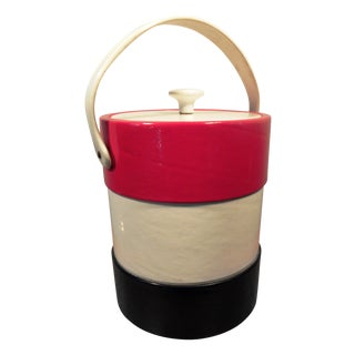 Vintage Mid-Century Red, White, & Blue Ice Bucket