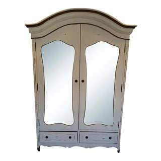 Distressed White Mirrored Armoire