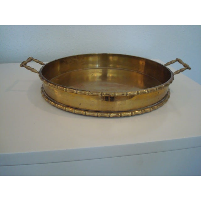 Round Faux Bamboo Tray - Image 2 of 6