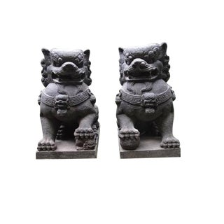 Volcanic Stone Foo Dog Statues - A Pair