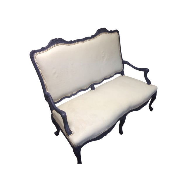 Image of 1800's Blue Distressed/Chalk Paint Settee