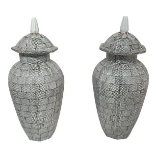 Textured Fish Scale Ginger Jars - a Pair
