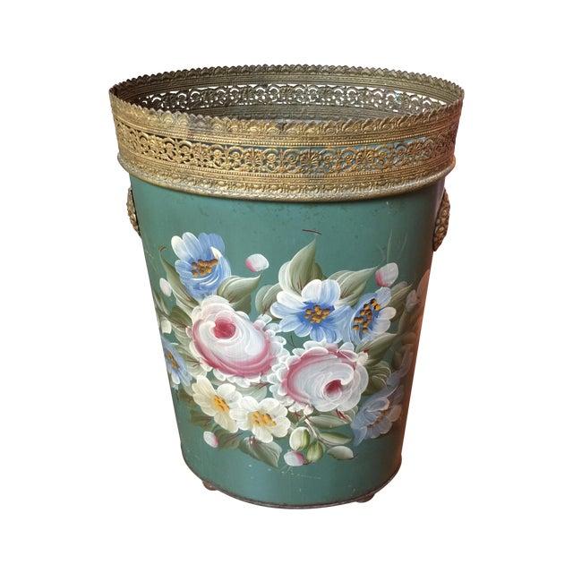 Vintage Tole Waste Basket with Gold Metal Trim - Image 1 of 10