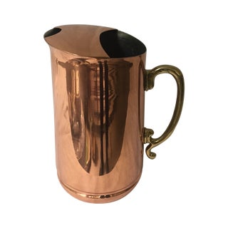 Vintage Brass Handled Copper Pitcher