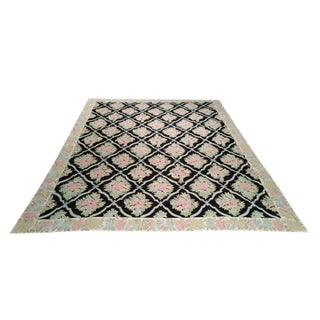 Modern Crewel Chain Stitch Handmade Knotted Rug - 9′ × 12′
